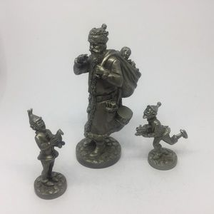 1978 Fine Pewter Santa With Two Elves Figurines